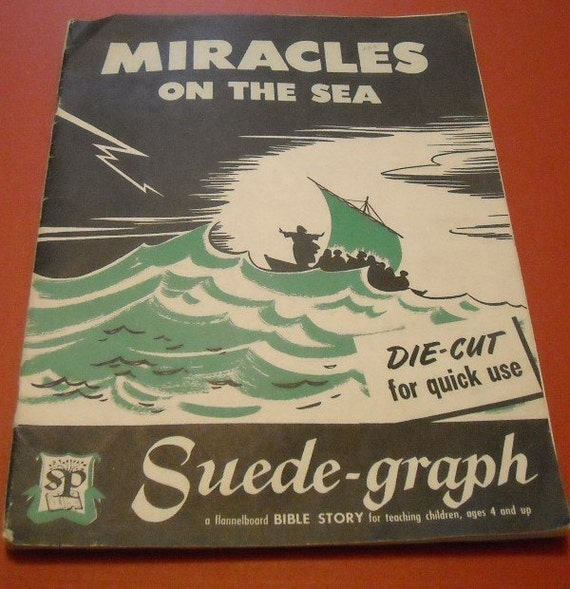 vintage 40s suede graph bible story, miracles on the sea, featuring 30 die-cut paper shapes