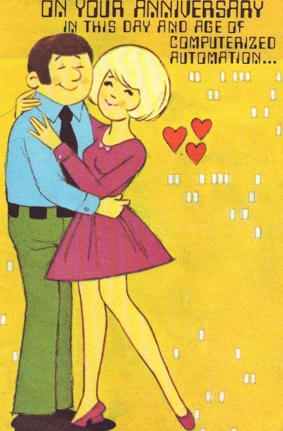 vintage 70s wedding anniversary greeting card unused great