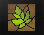 Autumn Leaf Stained Glass-green