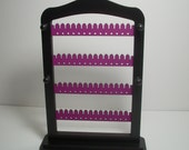 Jewelry Organizer / Earring Holder  LAVENDER wood Rack with stand & PEGS