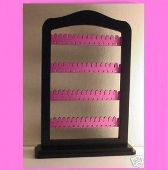 Earring jewelry rack holder BLACK and PINK - wood with stand