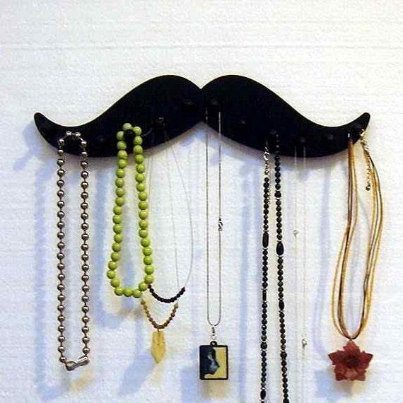 jewelry holder, MUSTACHE SHAPED RACK , necklace  rack   12 pegs bracelet holder  jewelry organizer black wood