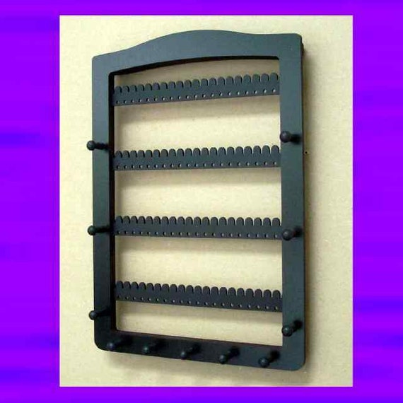 Earring and jewelry rack holder and organizer  large 11 PEG -  80 pair  WALL MOUNT black for necklaces, bracelets and earrings