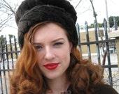Dark Brown Plush Fur Hat - Vegan