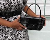 1960s Petite Black Patent Purse