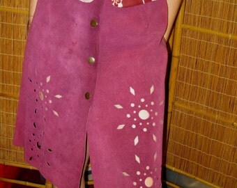 Maroon Suede Skirt with Cut Outs - Size 8