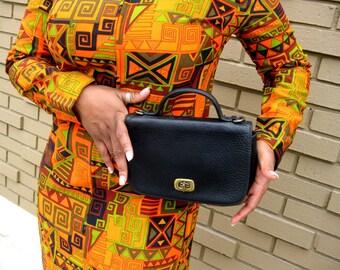 Black Leather Messenger Bag - Nine West