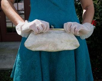 1950s White Plastic Clutch Purse
