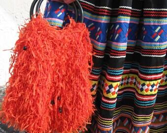 Orange Shaggy Purse with Lucite Handles