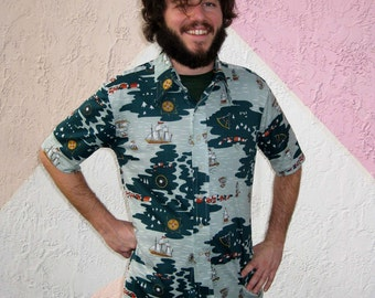 1970s Green Print Shirt with Sailing Ships - Groovy Nylon Knit