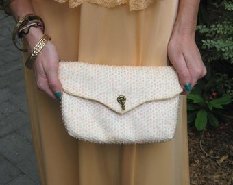 1960s Reversible White & Pink Reversible Clutch Purse - 2 Bags in One