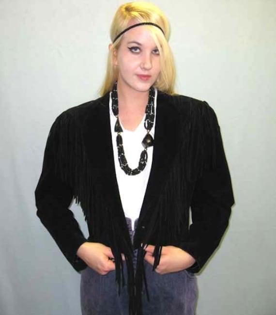 1980s Black Suede Fringed Jacket