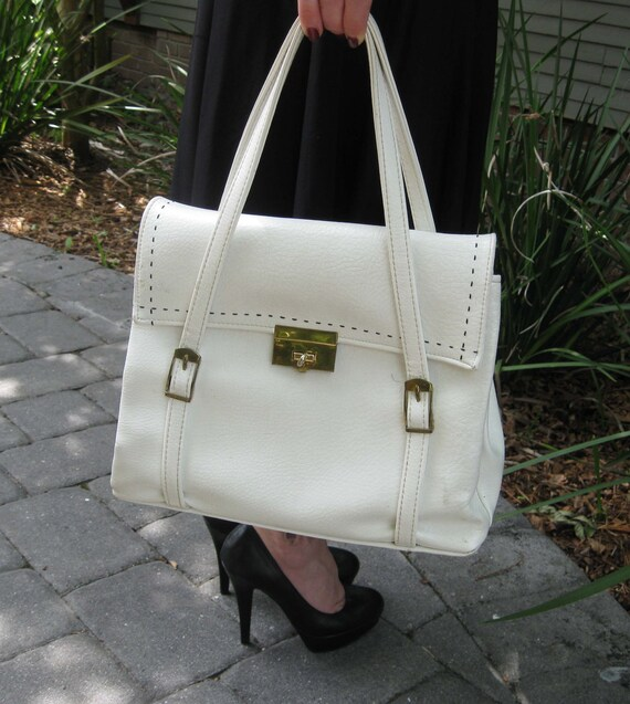 1960s Roomy White Leather Purse - JR