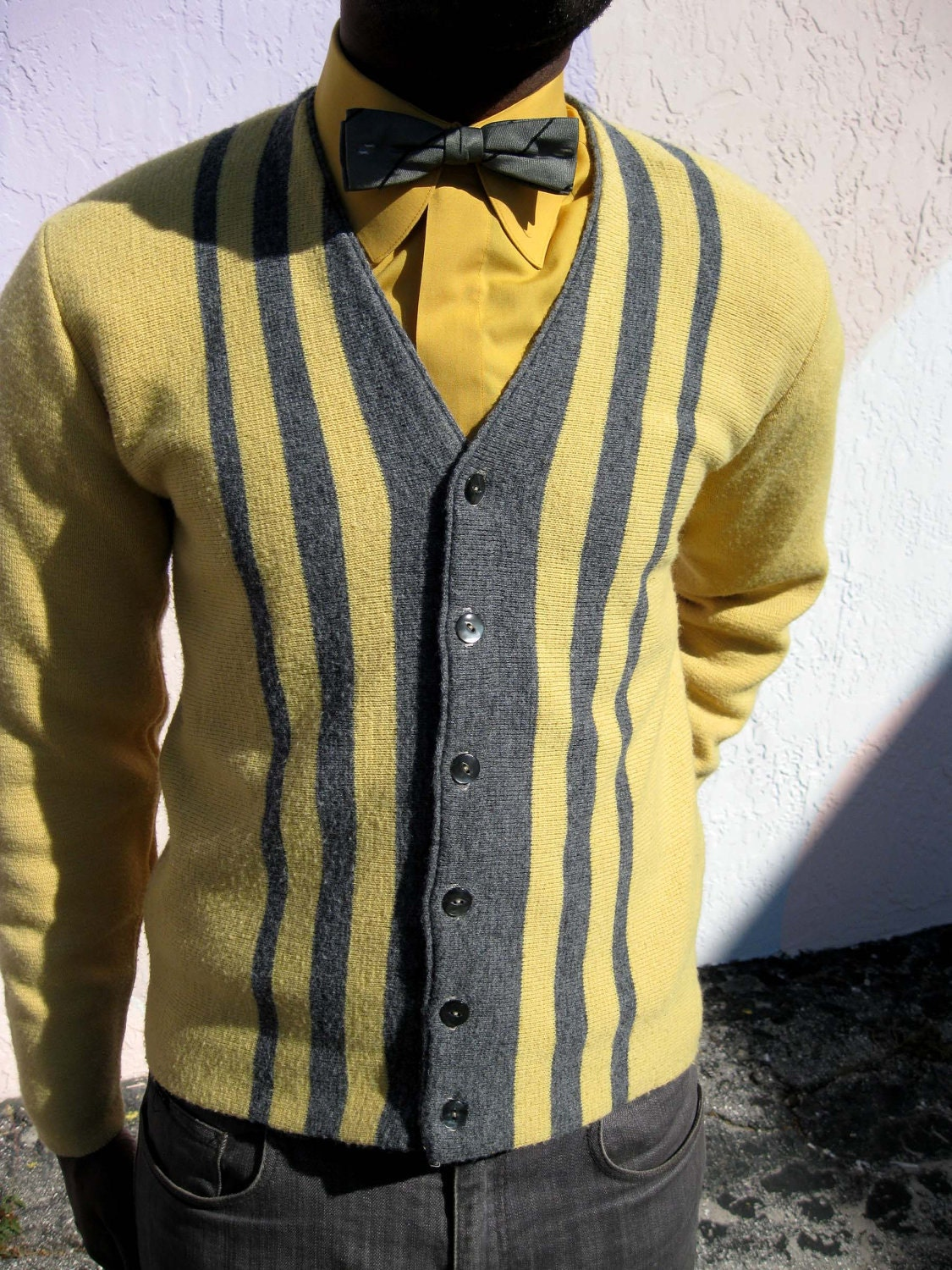Cardigans And Necklaces: 1960s Gold & Gray Cardigan Sweater Mad Men Era
