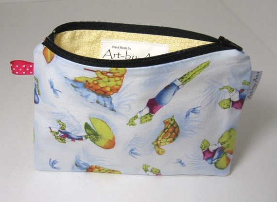 Frogs and Turtles Cotton Print Fabric - Lined Zip Pouch - Pencil Case or Notion Bag
