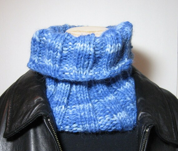 Hand Knit Cowl/Neckwarmer in Baby Alpaca - Gorgeous Shades of Blue