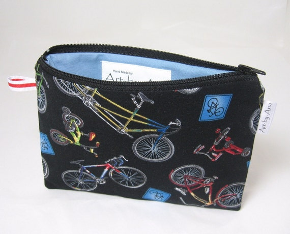Bicycles Print Lined Zip Pouch - Pencil Case or Notion Bag