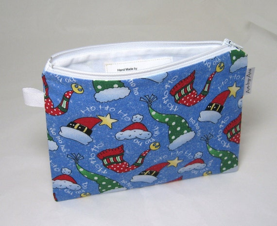 SALE - Holiday Hats Print - Lined Cotton Zip Pouch - Notion Bag/Pencil Case