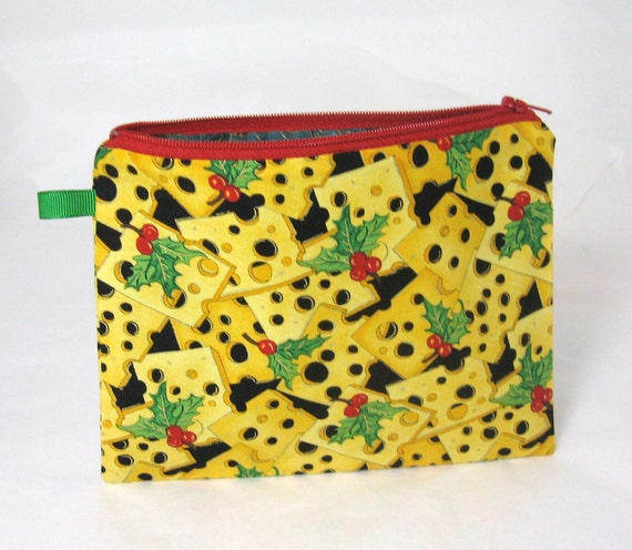 SALE - Christmas Cheese Print - Seriously - Lined Zip Pouch