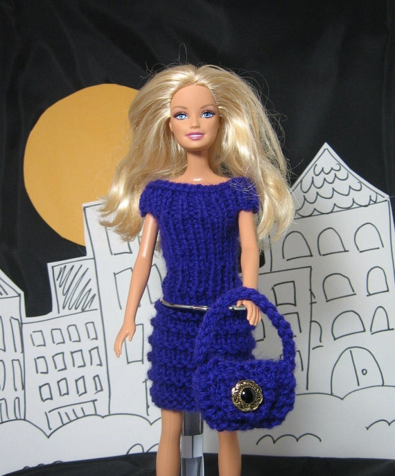 Hand Knit Barbie Dress and purse in Purple - set of 2 items