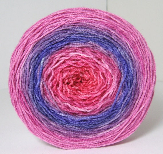 Sock Garden Party Cake - Hand Painted Tonal Yarn - Pinks and Purples