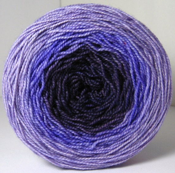 House Sock Party Cake - Hand Painted Tonal Striping Yarn in Mauve to Deep Purple