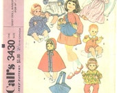 Vintage Sewing Pattern Doll Clothes 1960s McCalls 3430