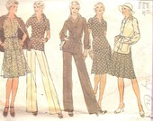 1970's Vintage Sewing Pattern Skirt Blouse Pants Jacket Simplicity 6514