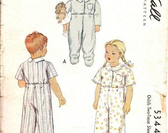 1940s Vintage Sewing Patterns - 1940s Childs Pajama Pattern - Childs Sleepwear Pattern - McCalls 5344 - Size 2