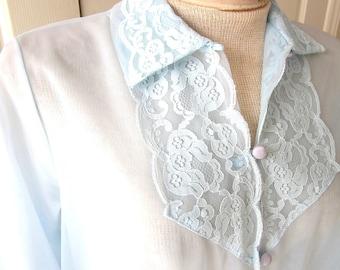 1960's Vintage Peinoir Robe - 1960s Light Blue Sheer Robe - Vintage Lingerie - Mid Century Womens Robe - Size Medium