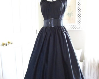 1950s Style Dress - Vintage Style Dress - Vogue Inspired Dress - Tea Length Dress - Little Black Dress - 50s Halter Dress - Dress for Her