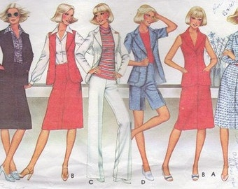 1970s Sewing Patterns- 70s Vest Sewing Pattern - 70s Blouse Skirt Pants Shorts Blazer Pattern McCalls 5516