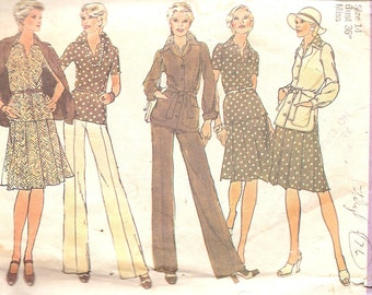 1970s - Vintage Sewing Pattern - Hipster - Clothing - DIY - Pleated Skirt - Blouse - High Waist Pants - Wide Leg - Jacket - Simplicity 6514