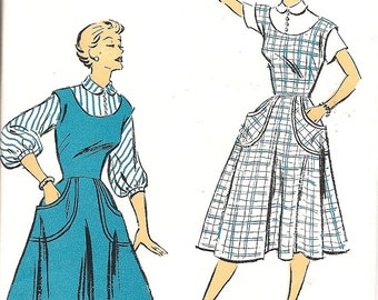 1950s Sewing Pattern - 1950s Jumper - Blouse Pattern - Jumper with Pockets  - Vintage New York 1252 Pattern