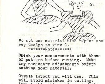 1960's Vintage Sewing Pattern  Square Dance Peasant Top Vee Gee