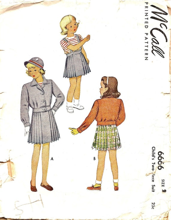 Vintage Sewing Patterns - 1940s Sewing Patterns - 1940s Childs Pattern - Suit Jacket - Pleated Skirt - Size 2 - McCall 6666 -Retro Pattern