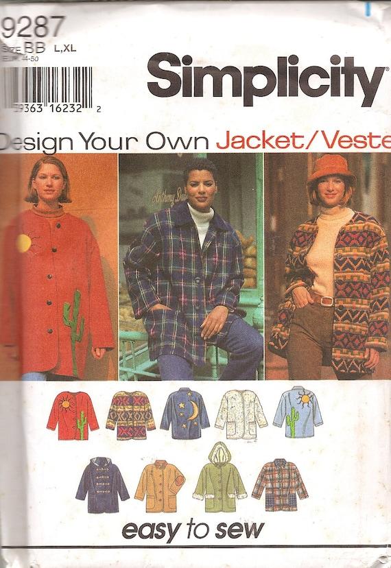 Jacket Vest Pattern Simplicity 9287 Plus Size Uncut