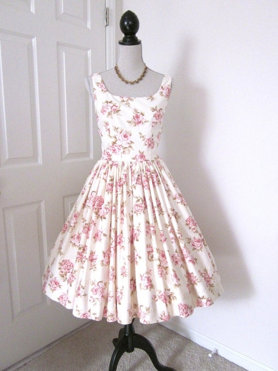 Rose 1960s Vintage Style Tea Dress Fabulously Feminine Bridesmaids Proms Garden Party