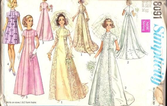 1960s Vintage Sewing Patterns 1960s Wedding Dress Pattern