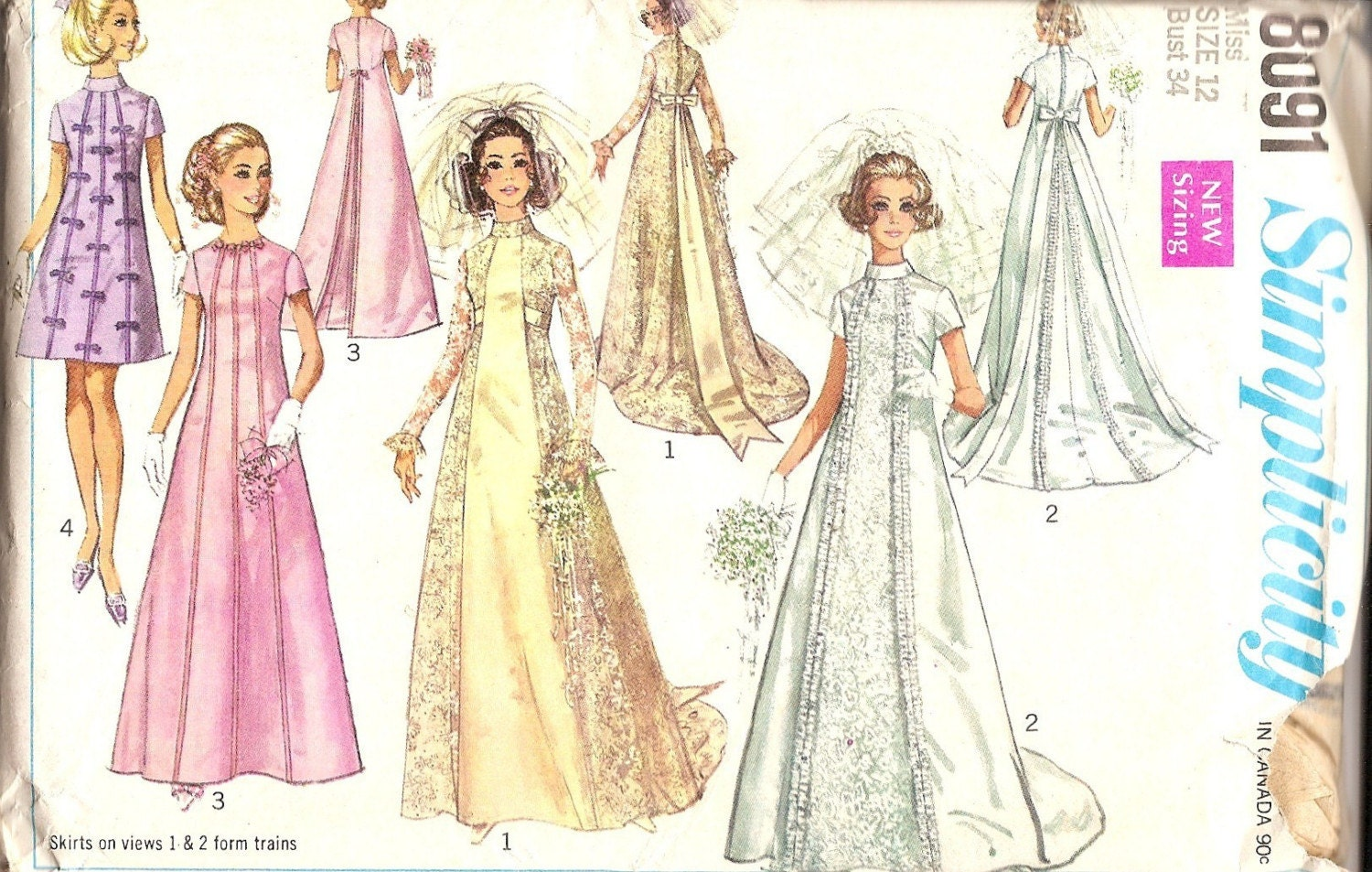 1960s vintage sewing patterns 1960s wedding dress pattern for Wedding dress patterns vintage