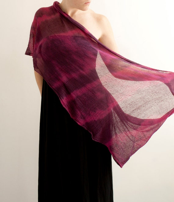 SALE - Tie Dye Shredded Scarf - Fuchsia - One of A Kind