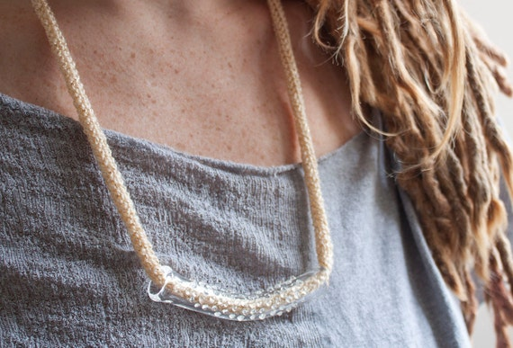 SALE - Clear Glass Tube Necklace - Gold/Tan Shimmer Knit