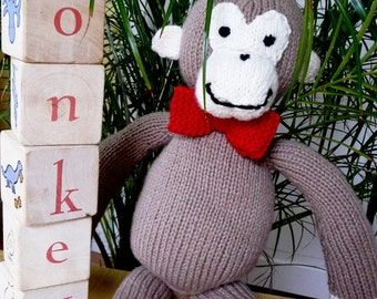 Stuffed Knitted Monkey, Stuffed Monkey, Stuffed Animal, Sock Monkey, Stuffed Sock Monkey