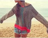 Sheer Crochet Knit Contrast Tunic