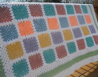 Pastel Color Block Granny Square Handmade Heirloom Quality Afghan