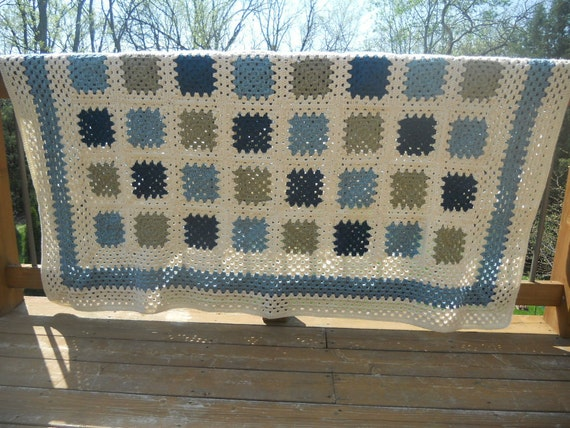 Blue and Tan Heirloom Quality Afghan FREE SHIPPING Nantucket Summer