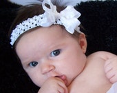 New White 1 Inch Infant Headband with White Itty Bitty Double Ruffle Bow Free Shipping On All Additional Items