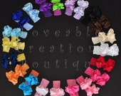 Large Double Layered Double Ruffle Bow YOU CHOOSE with Nylon Headband of Choice Free Shipping On All Additional Items