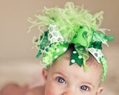 St. Patricks Day Bow with Shamocks Over The Top  Bow on matching Headband Free Shipping On All Addional Items