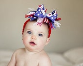 Red, Royal, and White July 4th Over The Top  Bow on Matching Headband Free Shipping On All Addional Items